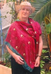 Fiona wearing Katherine's shawl